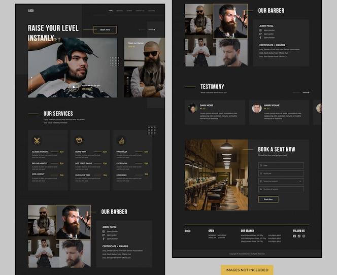 Page de destination du site web du salon de coiffure