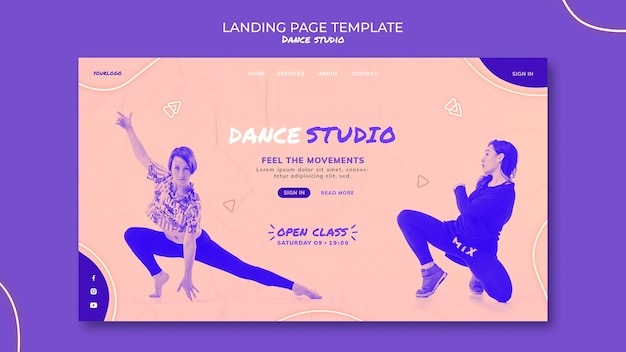 Page de destination du studio de danse avec photo