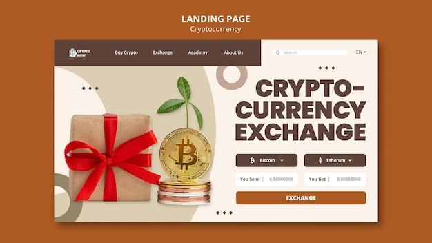 Page de destination de l'échange de devises cryptographiques