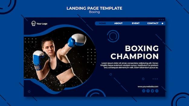 Page de destination d'entraînement de champion de boxe