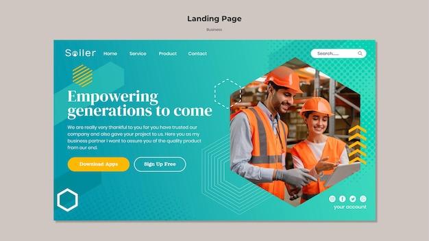 Page de destination de l'entreprise d'entrepôt
