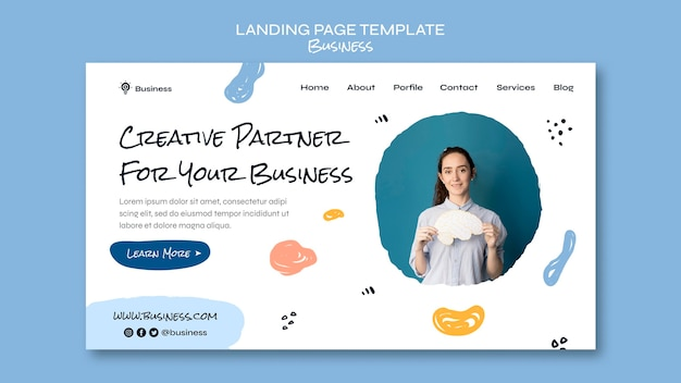 Page de destination des entreprises créatives