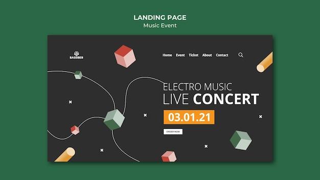 Page de destination de l'événement musical