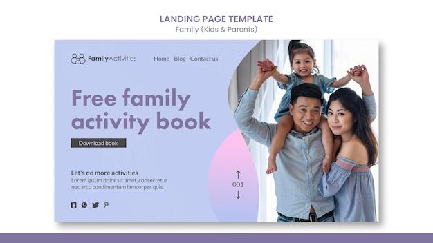 Page de destination familiale avec photo
