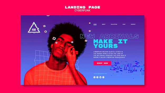 Page de destination futuriste cyberpunk