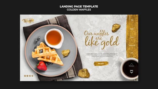 Page de destination des gaufres dorées