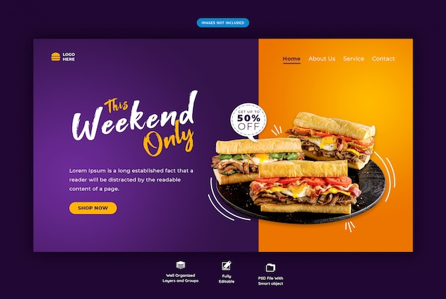 Page de destination horizontale de nourriture de restaurant