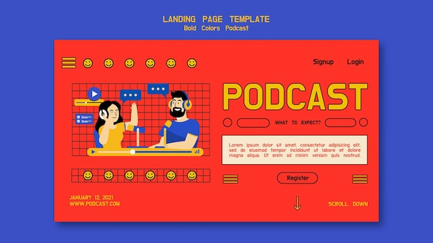 Page de destination illustrée du podcast