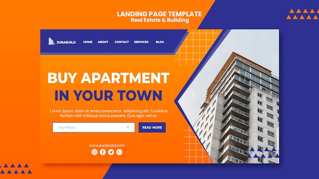 Page de destination de l'immobilier et du bâtiment