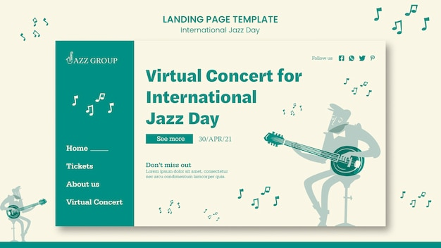 Page de destination de la journée internationale du jazz