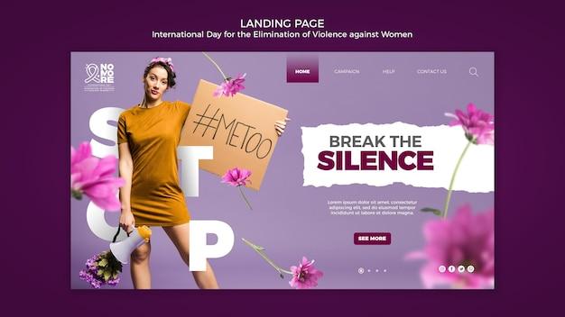 Page de destination de la journée internationale pour l'élimination de la violence à l'égard des femmes