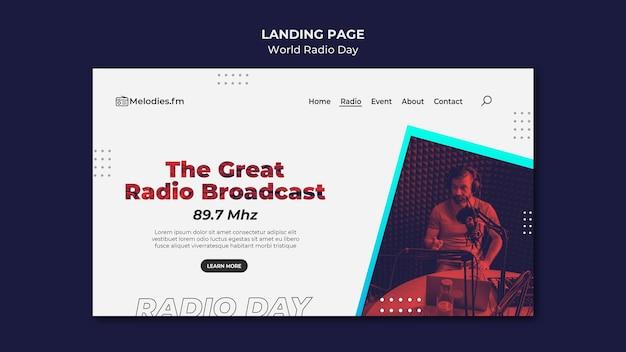 Page de destination de la journée mondiale de la radio avec un diffuseur masculin