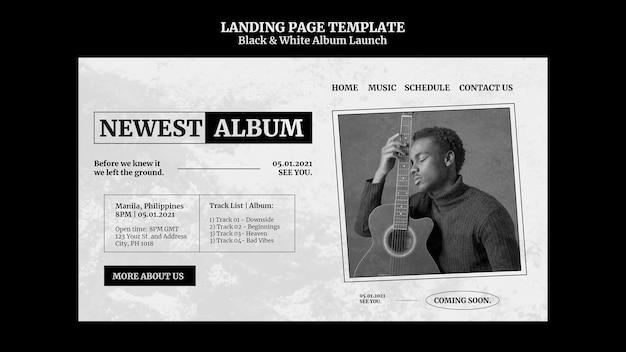 Page de destination de lancement de l'album en noir et blanc