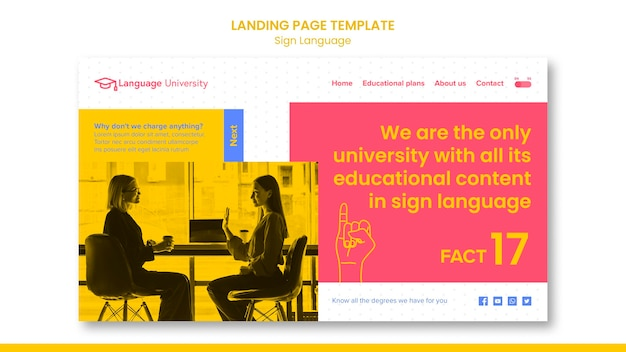 Page de destination en langue des signes