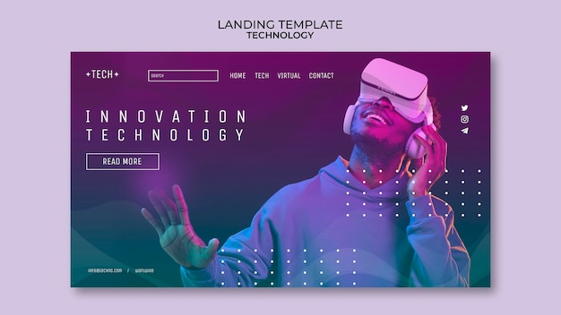 Page de destination des lunettes de réalité virtuelle