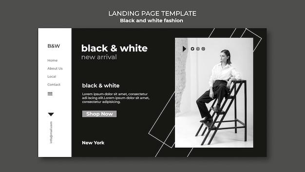 Page de destination de la mode en noir et blanc