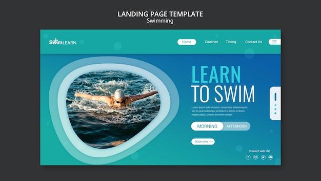 Page de destination de natation avec photo