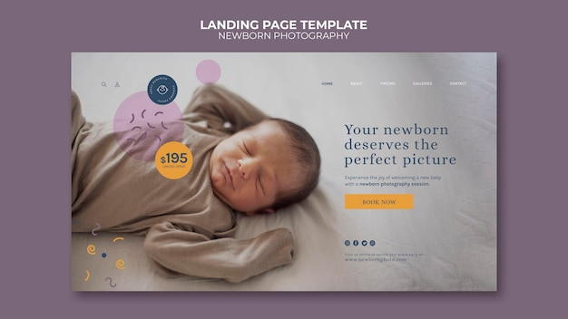 Page de destination de la photographie de nouveau-né