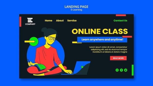 Page de destination de la plateforme e-learning