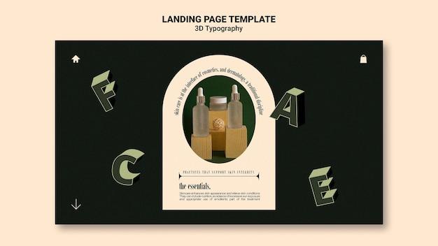 Page de destination pour l'affichage de bouteilles d'huile essentielle avec des lettres en trois dimensions