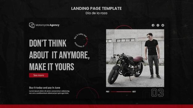 Page de destination pour une agence de moto avec un pilote masculin