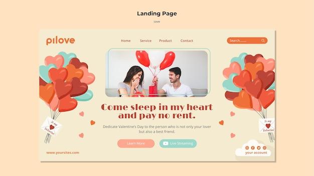Page de destination pour l'amour avec un couple romantique et des coeurs