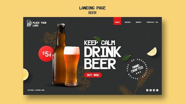 Page de destination pour boire de la bière