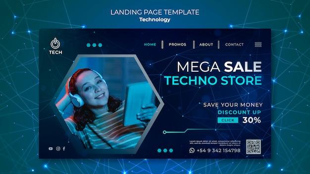 Page de destination pour la boutique techno