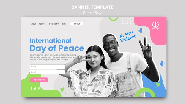 Page de destination pour la célébration de la journée internationale de la paix