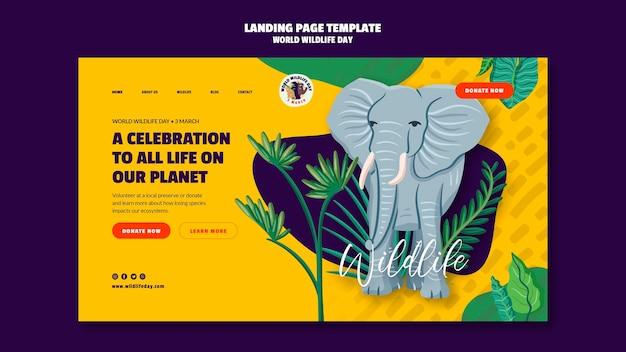 Page de destination pour la célébration de la journée mondiale de la faune