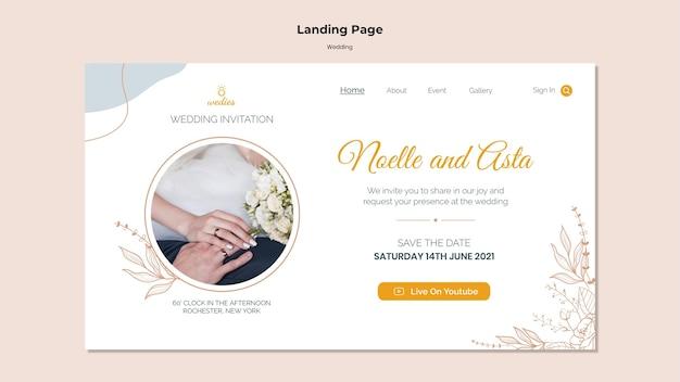 Page de destination pour la cérémonie de mariage avec les mariés
