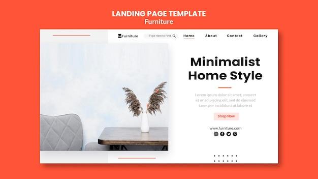 Page de destination pour les conceptions de meubles minimalistes