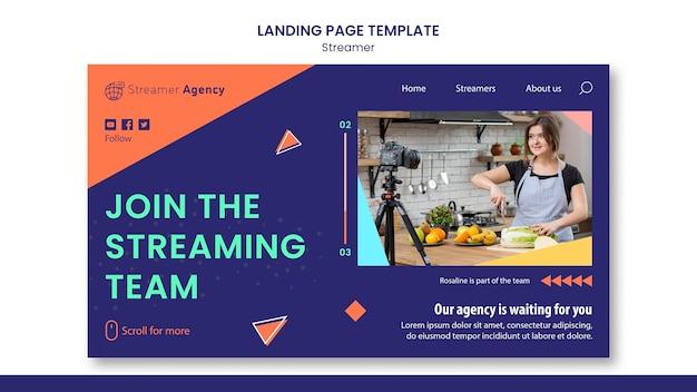 Page de destination pour diffuser du contenu en ligne