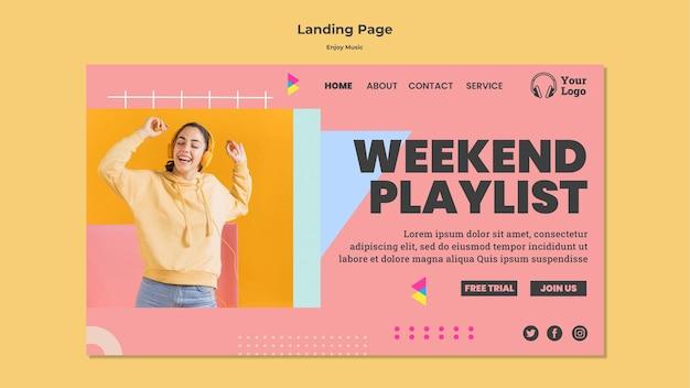 Page de destination pour écouter de la musique