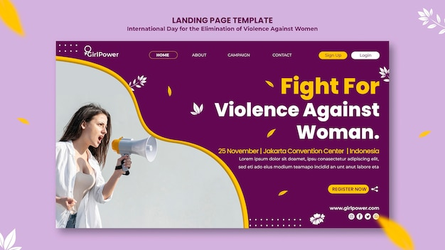 Page de destination pour l'élimination de la violence à l'égard des femmes