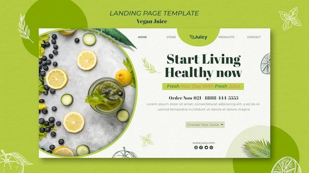 Page de destination pour une entreprise de livraison de jus végétalien