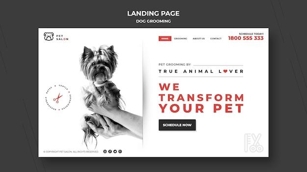 Page de destination pour une entreprise de toilettage pour animaux de compagnie