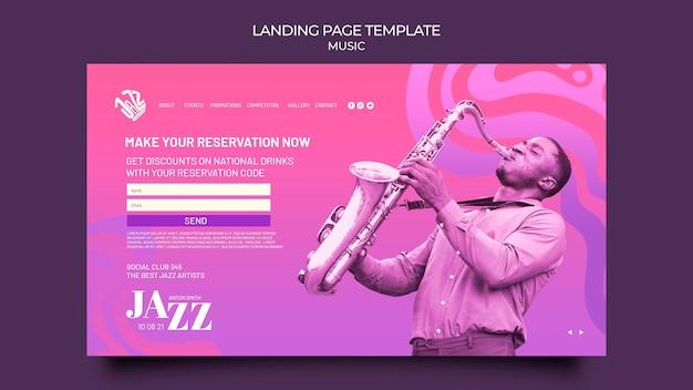 Page de destination pour le festival et le club de jazz