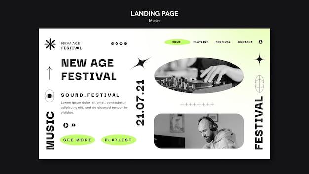 Page de destination pour le festival de musique new age