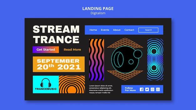 Page de destination pour le festival de musique trance 2021