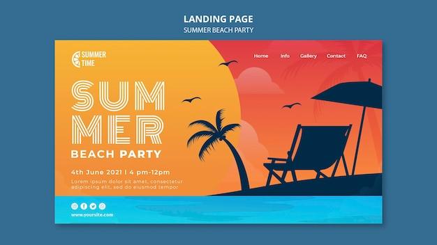 Page de destination pour la fête d'été sur la plage
