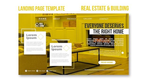 Page de destination pour l'immobilier et la construction