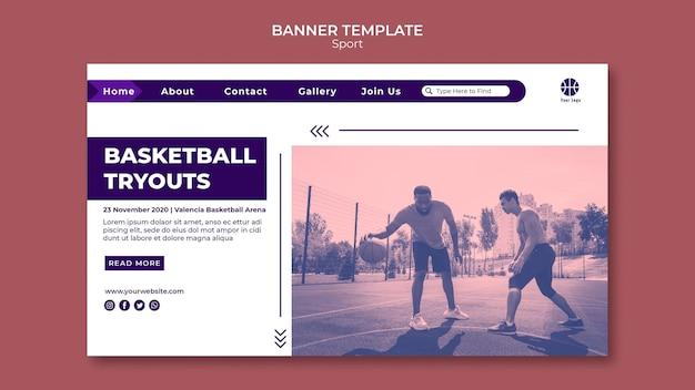 Page de destination pour jouer au basket