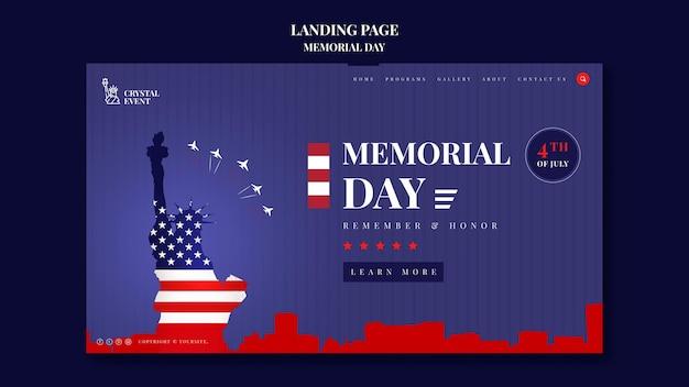 Page de destination pour le jour commémoratif des états-unis
