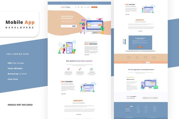 Page de destination pour le modèle de développeur d'application mobile