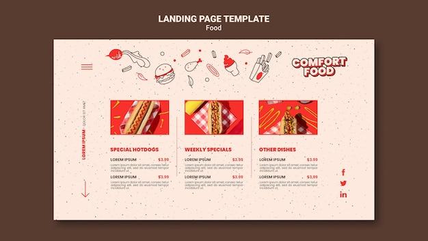 Page de destination pour la nourriture réconfortante pour hot-dog