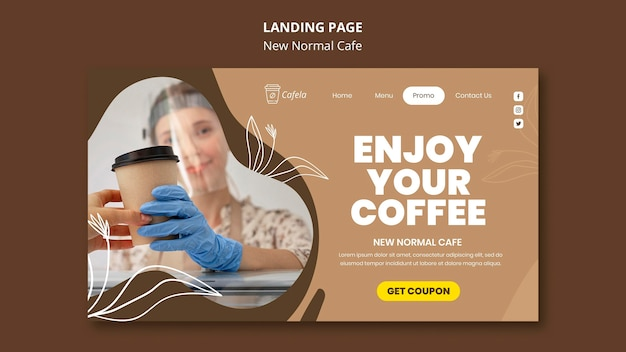 Page de destination pour un nouveau café normal