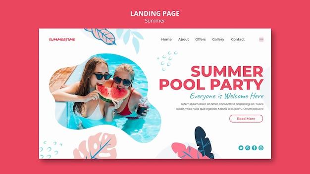 Page de destination pour les plaisirs d'été à la piscine