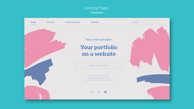 Page de destination pour le portfolio de peinture sur le site web