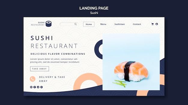 Page de destination pour le restaurant de sushi